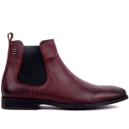 Claret Red Genuine Leather, Leather Sole Mens Boots