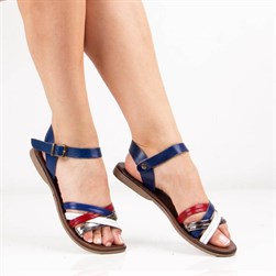 Sail Lakers - Blue, Multicolor Genuine Leather Womens Sandals