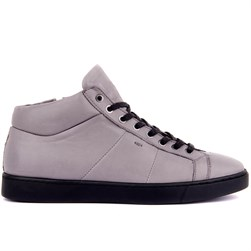 Grey Genuine Leather Mens Boots