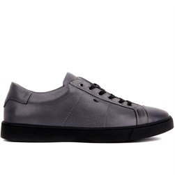 Grey Genuine Leather Mens Sneaker