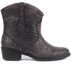 Sail Lakers - Mink Color Genuine Leather Pattern Leather Zippered Womens Boots