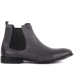 Grey Genuine Leather, Leather Sole Mens Boots