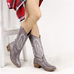 Sail Lakers - Grey Color Genuine Leather Embroidered Slip On Womens Boots