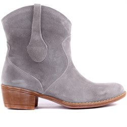 Sail Lakers - Grey Suede Leather Zippered Womens Boots