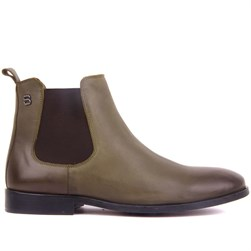 Khaki Genuine Leather, Leather Sole Mens Boots