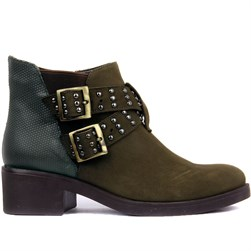 Sail Lakers - Khaki Nubuck, Genuine Leather Zippered Womens Boots