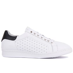 White, Black Genuine Leather Mens Sneaker