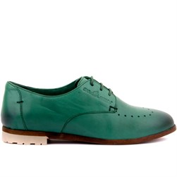 Sail Lakers - Pine Green Genuine Leather Womens Lace - Up Shoes