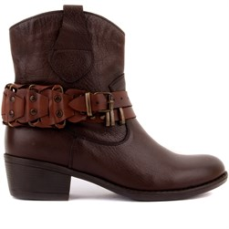 Sail Lakers - Brown Genuine Leather Zippered Womens Boots