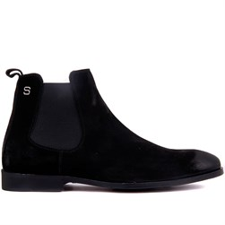 Black Suede Genuine Leather, Leather Sole Mens Boots