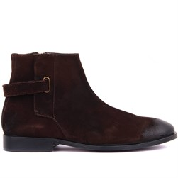 Brown Suede Genuine Leather, Leather Sole Mens Boots
