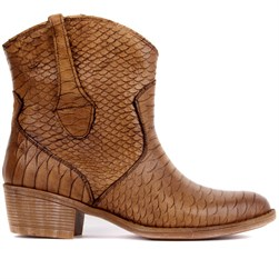 Sail Lakers - Caramel Genuine Leather Crocodile Pattern Zippered Womens Boots