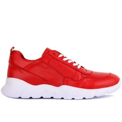 Red Leather Mens Sneakers