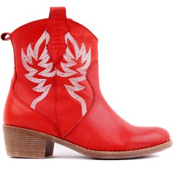 Sail Lakers - Red Color Genuine Leather Embroidered Slip On Womens Boots