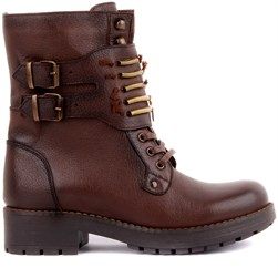Sail Lakers - Red Brown Genuine Leather Zippered Womens Boots