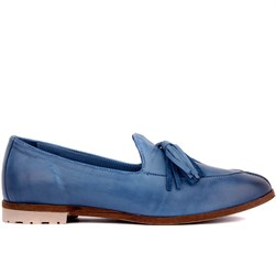 Sail Lakers - Blue Jeans Color Genuine Leather Womens Slip-on Loafer