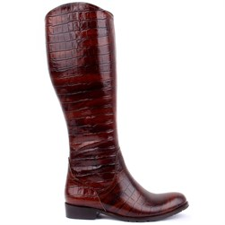 Sail Lakers - Tobacco Color Genuine Leather Crocodile Pattern Zippered Womens Boots