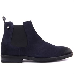 Navy Blue Suede Mens Boots
