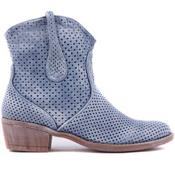 Sail Lakers - Blue Tumbled Genuine Leather Staple Detailed Zippered Womens Summer Boots
