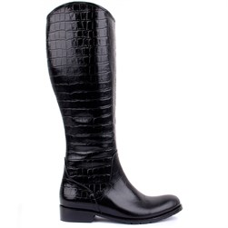 Sail Lakers - Black Genuine Leather, Crocodile Pattern Zippered Womens Boots