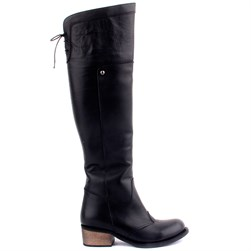 Sail Lakers - Black Genuine Leather Zippered Womens Boots