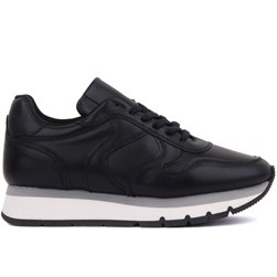 Sail Lakers - Black Genuine Leather Lace up Womens Sneaker