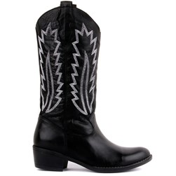 Sail Lakers - Black Genuine Leather Embroidered Slip On Womens Boots