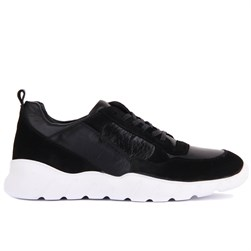 Black Suede, Genuine Leather Mens Sneaker