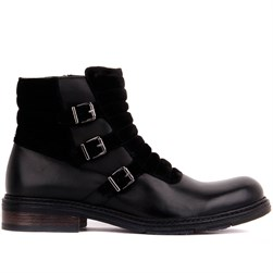 Black Genuine Leather, Suede Mens Boots