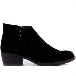 Sail Lakers - Black Suede Genuine Leather Zippered Womens Boots