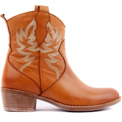 Sail Lakers - Tobacco Color Genuine Leather Embroidered Slip On Womens Boots