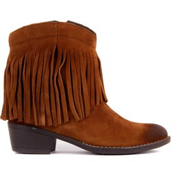 Sail Lakers - Tobacco Suede Tassel Detailed Zippered Womens Boots