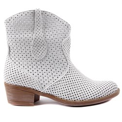 Sail Lakers - White Genuine Leather Staple Detailed Zippered Womens Summer Boots
