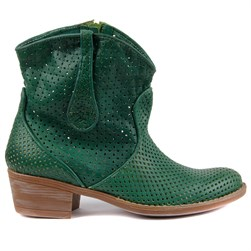 Sail Lakers - Dark Green Genuine Leather Staple Detailed Zippered Womens Summer Boots