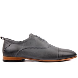 Grey Genuine Leather Mens Shoes