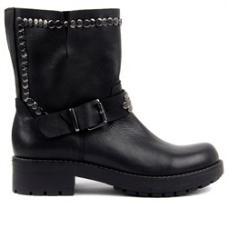 Sail Lakers - Black Genuine Leather Slip On Womens Boots