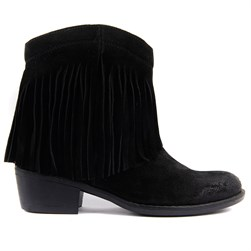Sail Lakers - Black Suede Tassel Detailed Zippered Womens Boots