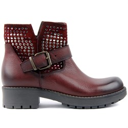 Sail Lakers - Claret Red Genuine Leather Zippered Womens Boots
