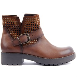 Sail Lakers - Tobacco Color Genuine Leather, Suede High Sole Zippered Womens Boots