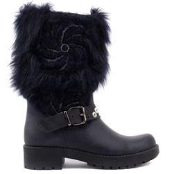 Sail Lakers - Navy Blue Genuine Leather Zippered Furry Womens Boots
