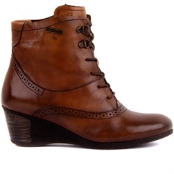 Sail Lakers - Tobacco Color Genuine Leather Wedge Heel Lace-Up Womens Boots