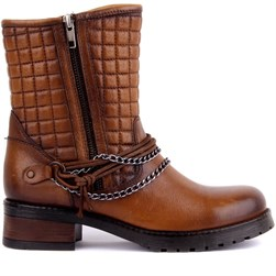 Sail Lakers - Tobacco Color Genuine Leather Zippered Womens Boots